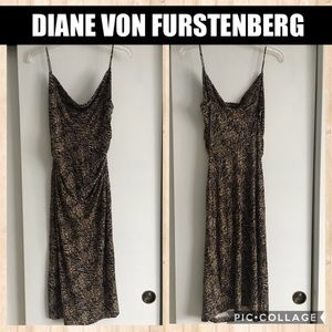 DVF Brown/Black/White Strappy Bodycon Dress Sz 4